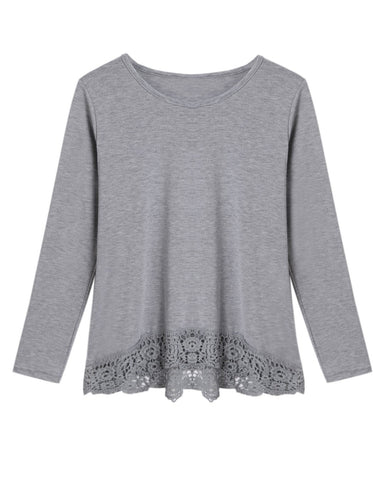Ladies Comfy Cozy Lace Knit Trim Long-Sleeve Grey Top S-XL-T-shirt/Tee-Loluxe