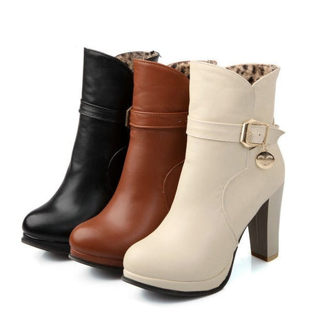Ladies Elegant Buckle-Accent High-Heel Platform Ankle Boots 3 Colors-Loluxe