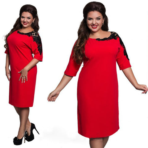 Ladies Elegant Lace-Trim Round-Neck Sheath Dress L-6XL 3 Colors-Loluxe