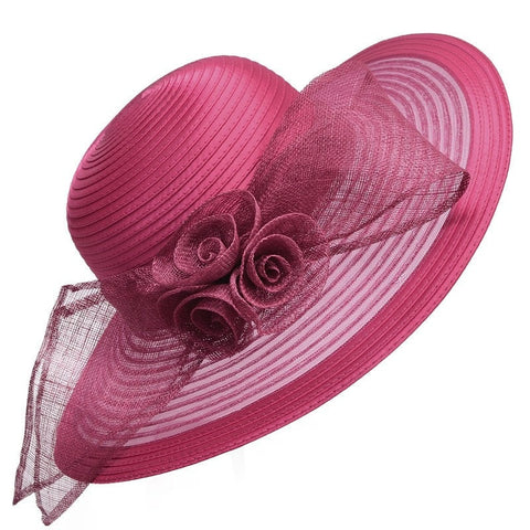 Ladies Elegant Lightweight Floral Ribbon-Accent Wide-Brim Summer Derby Beach Hat 6 Colors-Loluxe