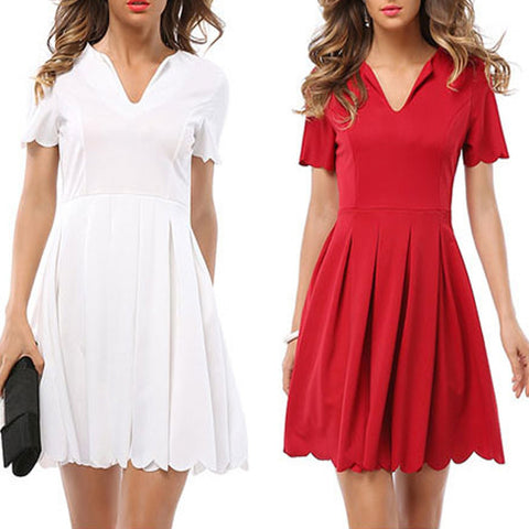 Ladies Elegant Sexy Mini Short-Sleeve Pleated Casual Dress S-2XL 2 Colors-Loluxe