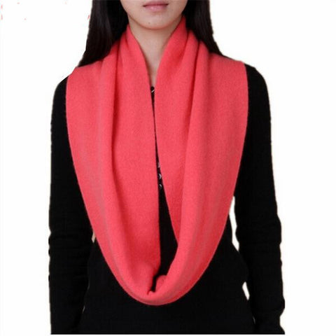Ladies Elegant Simple Candy-Colored Cashmere-Blend Knitted Ring Fashion Scarf 6 Colors-Loluxe