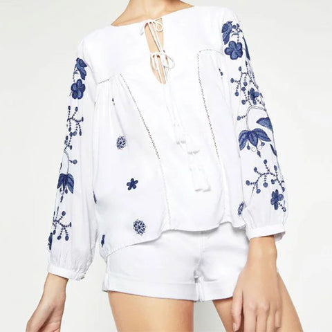 Ladies Embroidered Tassel Fringe Lace-Up White Blouse S-L-Loluxe