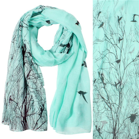 Ladies Fashion Bird Tree Print Long Soft Scarf 3 Colors-Loluxe
