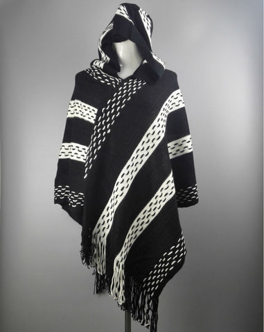 Ladies Fashion Black/White Stripe Hooded Knitted Fringe Accent Cape Poncho Scarf-Loluxe