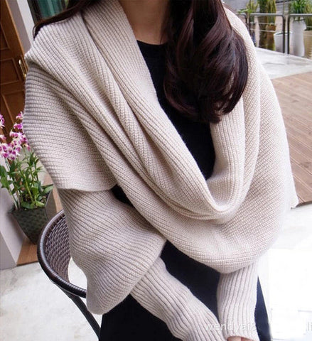 Ladies Fashion Long-Sleeve Winter Warm Soft Designer Shawl Scarf 4 Colors-Loluxe