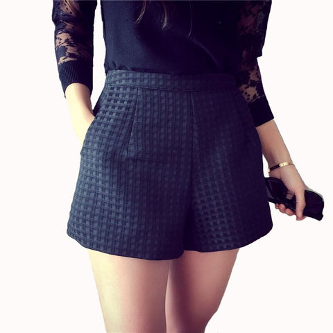 Ladies Fashion Plaid-Print Pocketed Shorts S-XL 4 Colors-Loluxe