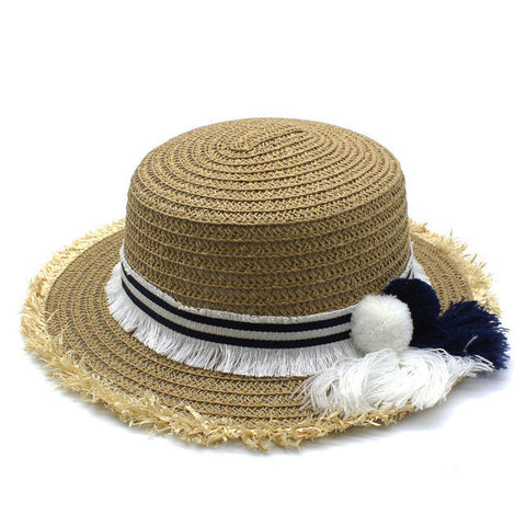 Ladies Fashion Ribbon Fringe Soft Straw Summer Beach Hat 3 Colors-Loluxe