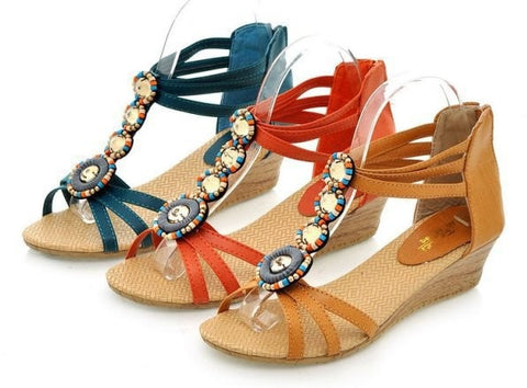 Ladies Fashion Summer Beaded Gladiator-Style Sandals 3 Colors-Loluxe