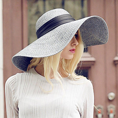 Ladies Fashion Wide-Brim Floppy Summer Beach Hat-Loluxe