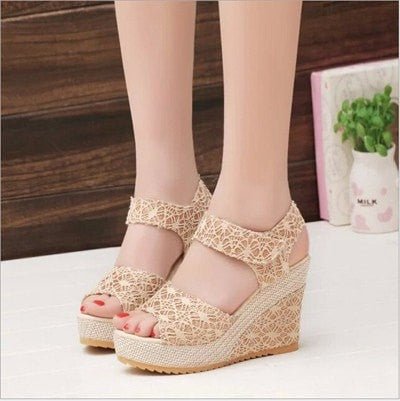 Ladies High-Heel Fashion Wedge Sandals 2 Colors-Loluxe