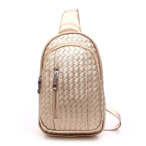 Ladies Luxury Small-Capacity Basket-Weave Pattern Messenger Shoulder Crossbody Handbag-Loluxe