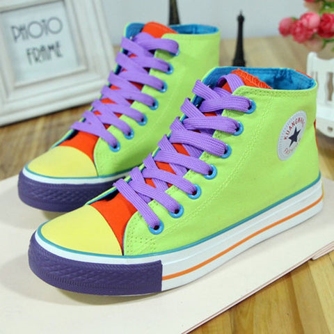 Ladies Multicolored Lace-Up High-Top Canvas Sneakers 3 Colors-Loluxe
