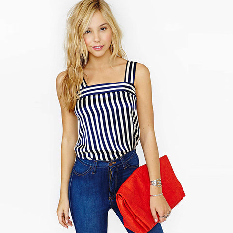 Ladies Navy White Stripe Square Halter Neck Tank Top S-2XL-Loluxe