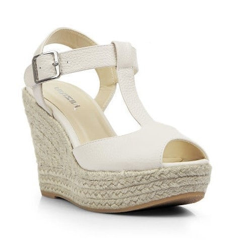 Ladies Open-Toe T-Strap Wedge-Heel Leather Sandals 3 Colors-Loluxe