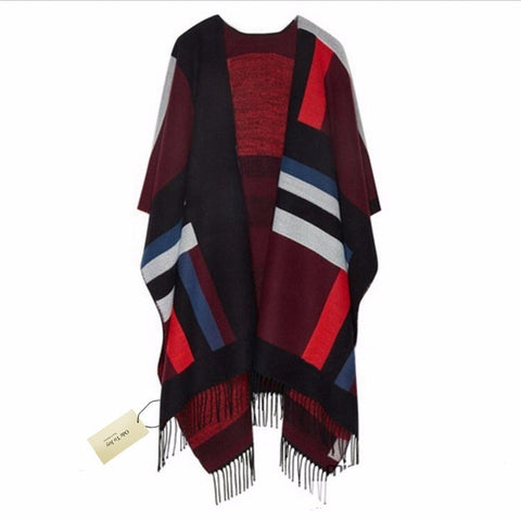 Ladies Oversize Warm Geometric Color-Block Fringe Accent Winter Shawl Scarf-Loluxe
