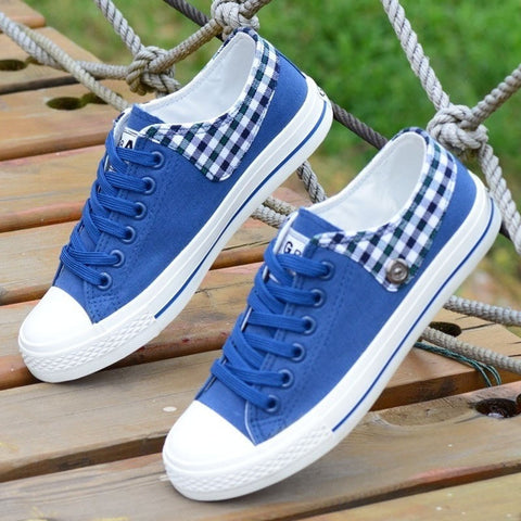 Ladies Plaid-Accent Canvas Fashion Sneakers 3 Colors-Loluxe