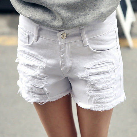 Ladies Ripped Denim Summer Fashion Quality Shorts 26-40 2 Colors-Loluxe