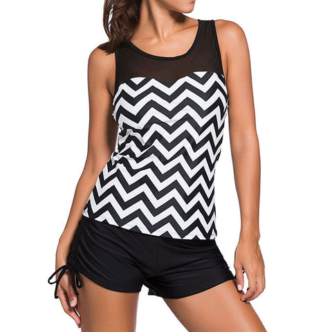Ladies Sporty Chevron Runched Side-Tie 2-PC Tankini S-3XL-Loluxe