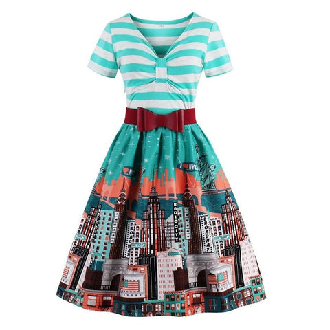 Ladies Summer Bow Belt City-Print Vintage Stripe Casual Dress S-4XL 3 Colors-Loluxe