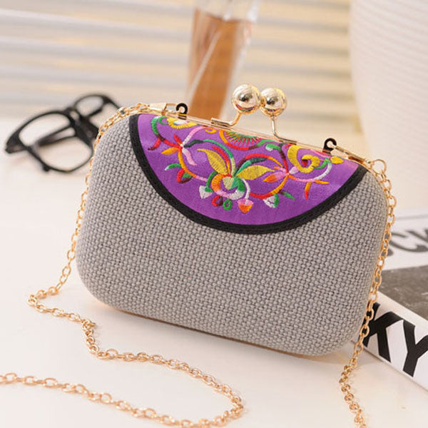 Lady Chain Embroidery Clutch Bag Evening Handbag-coin purse wallet clutch-Loluxe