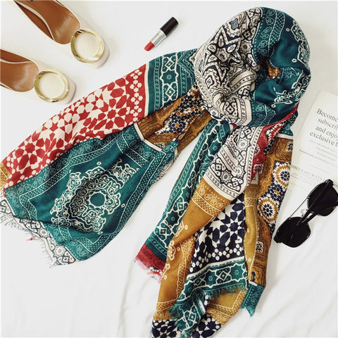 Large Boho-Style Soft Cotton Fashion Women's Scarf 3 Colors-Loluxe