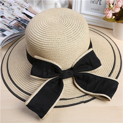 Large Brim Bowknot Fashion Ladies Sun Hat 3 Colors-Loluxe