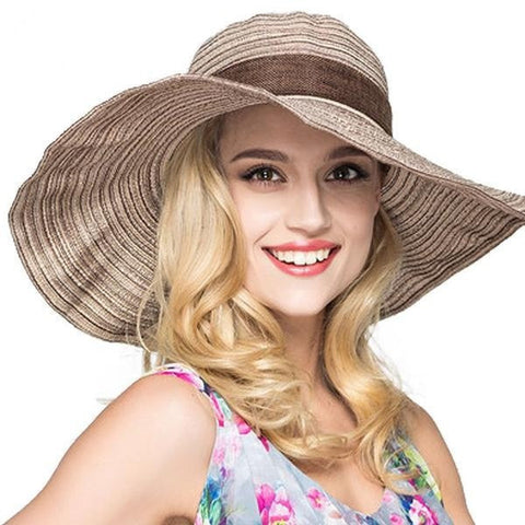 Large Ladies Wide-Brim Floppy Striped Fashion Summer Beach Hat-Loluxe