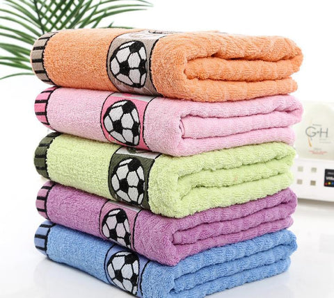 Large Quality Soccer-Print 100% Cotton Soft Bath Towels 5 Colors-Loluxe