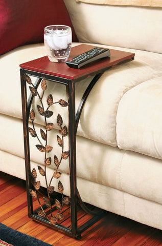 Leaf Scroll Side Sofa Tray Snack Table-Living Room > Coffee Tables-Loluxe