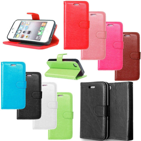 Leather Top Quality Solid Color Flip TPU Cellphone Case w/Stand Function & Card Slots - 8 Colors-Loluxe