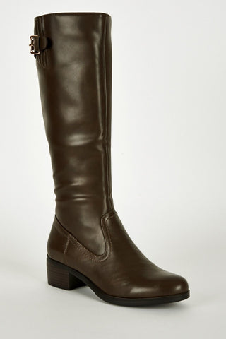 Leatherette Buckle Detail Heeled Calf Boots-Footwear > Boots-Loluxe