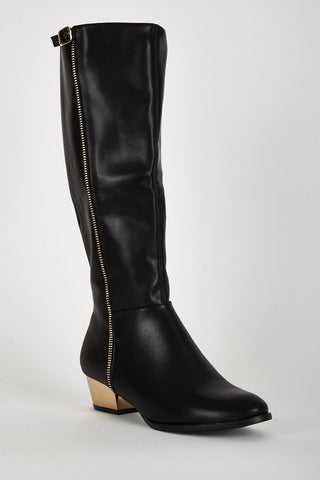 Leatherette Look Gold Coloured Heel Long Boots-Footwear > Boots-Loluxe