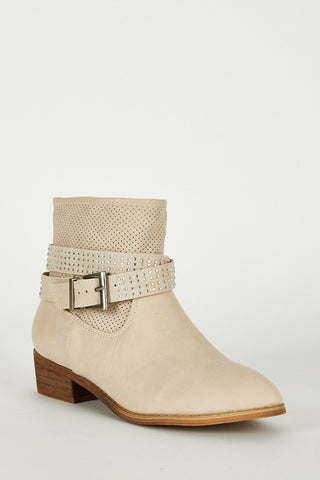 Light Beige Ankle Strap With Diamante Detail Boots-Footwear > Boots-Loluxe