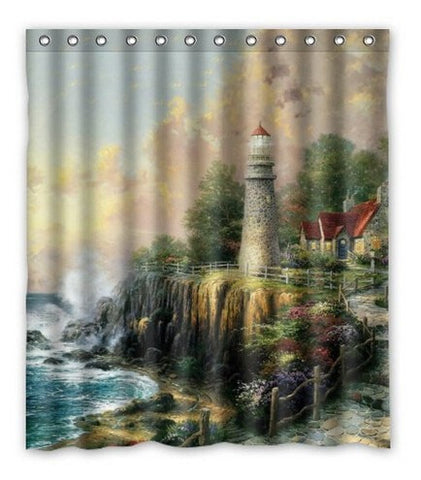 "Lighthouse Mildew-Resistant Waterproof 66 x 72"" Fabric Shower Curtain-Loluxe"