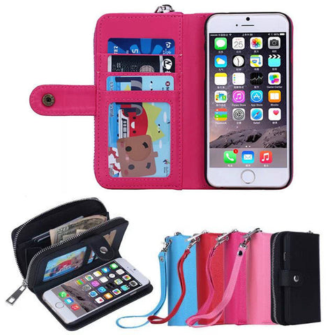 Litchi Pattern Leather Wallet Cellphone Case Holder w/Zipper/Snap Closure, Card Pockets, & Strap for iPhone - 5 Colors-Loluxe