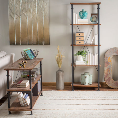 Living Room Kitchen Storage 4-Shelf Bookcase Bookshelf Vintage Industrial Style-Living Room > Bookcases-Loluxe