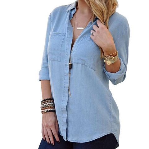 Long-Sleeve Fashion Casual Denim Ladies Top S-XL-Loluxe