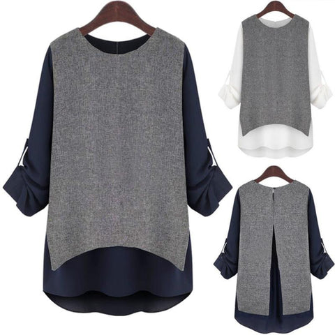 Long-Sleeve Patchwork Loose Comfy Ladies Fashion Top XL-5XL 2 Colors-Loluxe