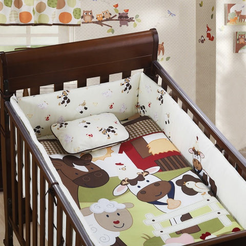 Lovely 3 PC Embroidered Animal Print Babies Crib Set-Loluxe