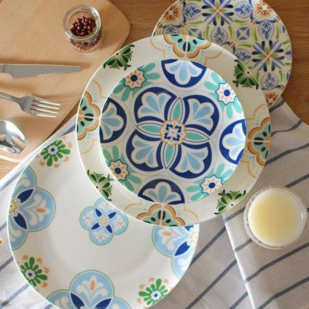 Lovely Bohemian Retro Style Ceramic Bone China Plates 2 Sizes & Varied Patterns Available-Loluxe