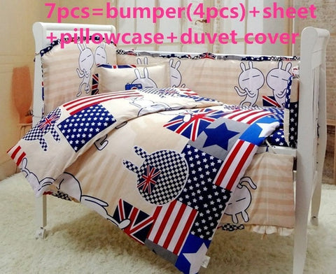 Lovely British Decor High Quality 6 or 7 PC Baby Crib Bedding Set 2 Sizes-Loluxe