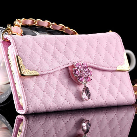 Lovely Elegant Bling Diamond PU Leather Handbag Cellphone Case w/Chain Leather Strap for iPhone 7 Colors-Loluxe