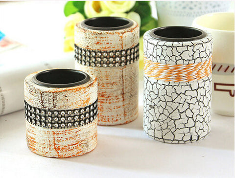 Lovely Elegant Jewel Accent European-Style Decorative 2-PC Candle Holder Set 2 Colors-Loluxe