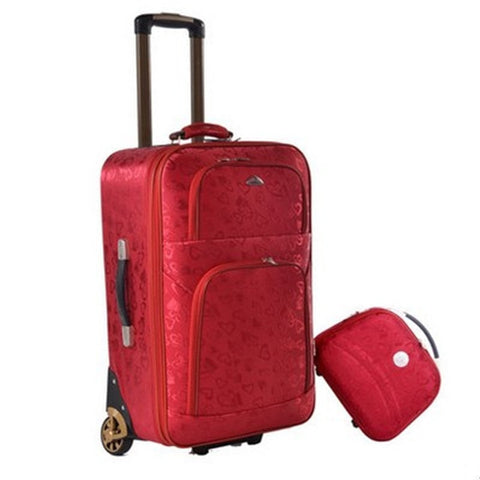 Lovely Elegant Women's Red 2-PC Designer Fashion Print Trolley Luggage Set 2 Sizes-Loluxe