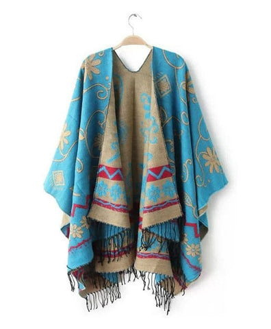 Lovely Fashion Floral Print Warm Wool-Cashmere Blend Fringe Accent Poncho Shawl Scarf-Loluxe