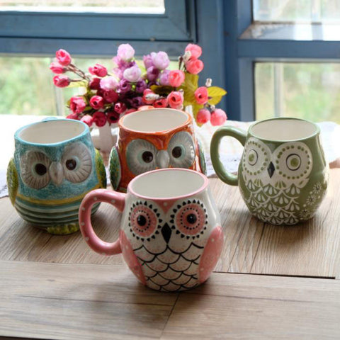 Lovely New Life Cute Porcelain Ceramic Owl Mugs 4 Styles Colors-Loluxe