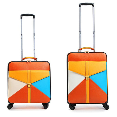 Lovely Retro-Vintage Style PU Leather Color-Block Trolley Spinner Wheels Luggage 2 Sizes-Loluxe