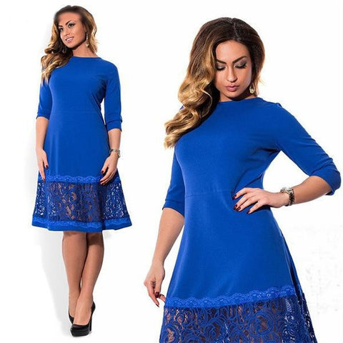 Lovely Women's Lace Three-Quarter Sleeve Dress L-6XL 3 Colors-Loluxe