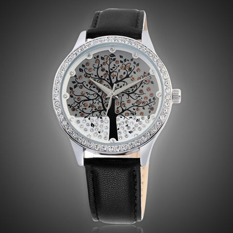 Luxury Brand Women Leather Band Tree Dial Fashion Quartz Watch-Loluxe